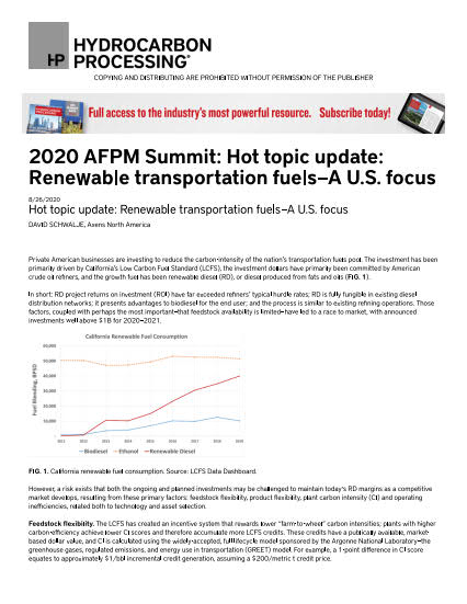 Thumb_Technical Article - 2020 AFPM Summit_ Hot topic update_ Renewable transportation fuels_1